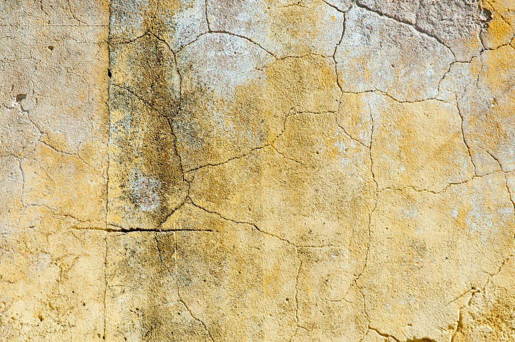 popraskaná zeď, stará fasáda s plísní