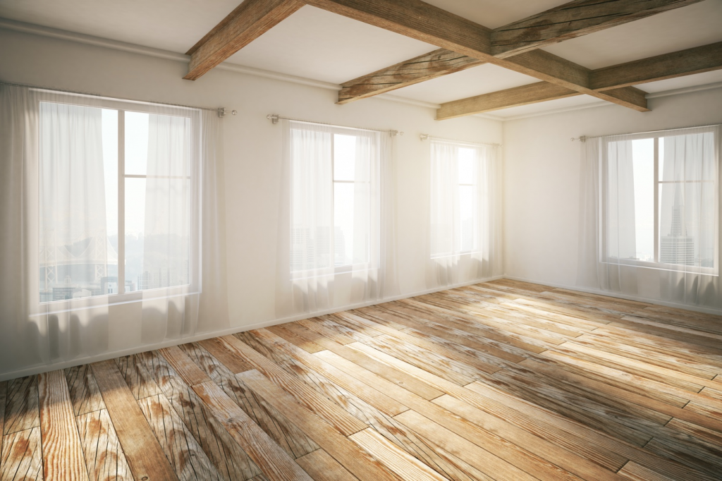 dřevěná podlaha ve světlém pokoji
